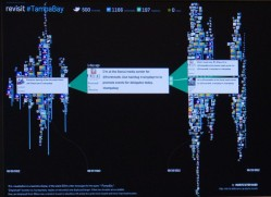 Live visualization of tweets surrounding hashtags at TampaBay Social Media Command Center, Demo by Robert Neff, August 2012